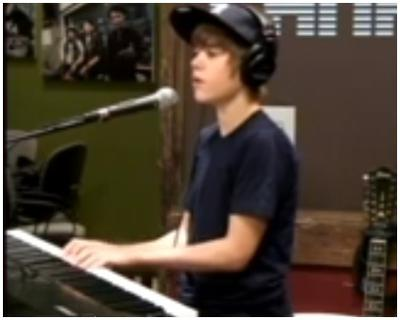 Justin Bieber on the piano