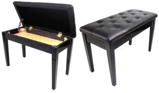 Ebony Black Leather Piano Bench Wood Double Duet Keyboard