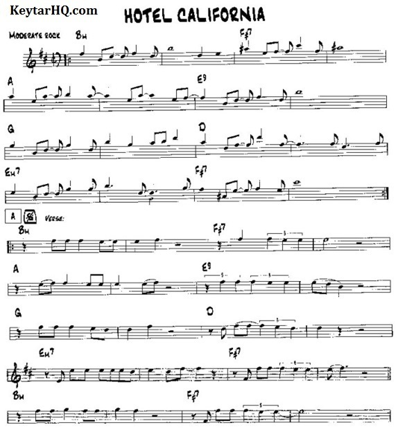 Sheet Music for Hotel California by Eagles