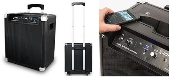 portable speakers on wheels. buy ion audio ipa76a block rocker portable bluetooth speaker system with usb charger and wheels speakers on