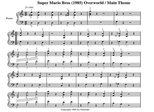 super mario brothers theme song sheet music